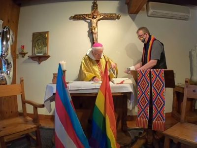 Mexican Bishop Celebrates Mass with the LGBT+ and Transexual Flags